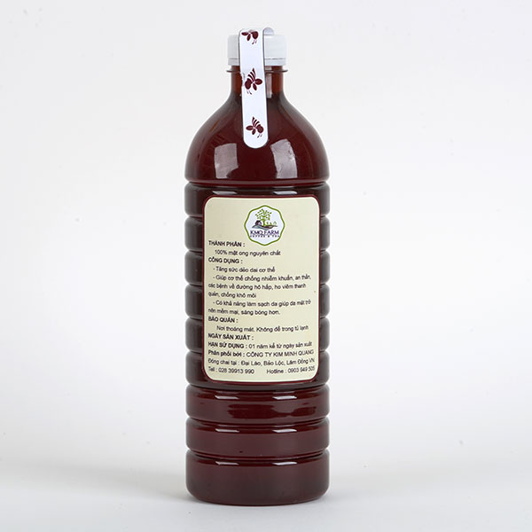 Mật ong KMQ Farm - Chai 1lít (Honey bottle)